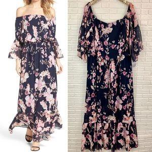 Eliza J floral off shoulder blouson maxi dress NEW